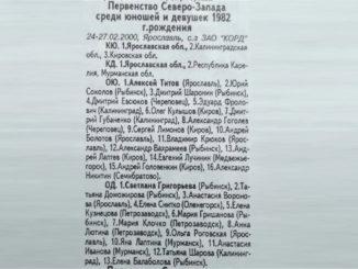 2000 год: Первенство СЗФО юниоры 1982