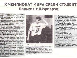 1994 год: Чемпионат Мира среди студентов