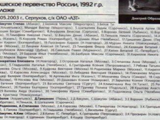 2003 год: Первенство России мини-кадеты 1992г.р.