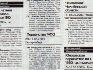 2003 год: Спартакиада учащихся СЗФО