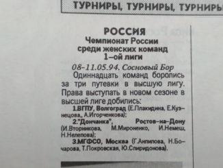 1994 год: Командный Чемпионат России